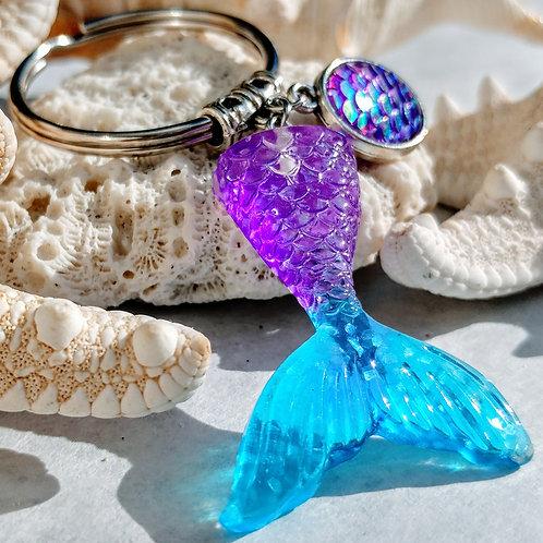 Recycled Mermaid tail keychain- Indigo Purple