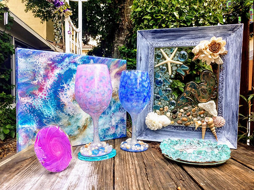 Mermaid Trash Ocean wave resin paintings and home goods
