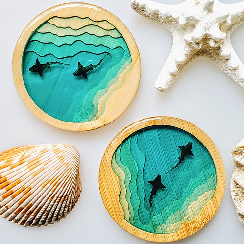 Shark Cove Round Coasters Set of 2