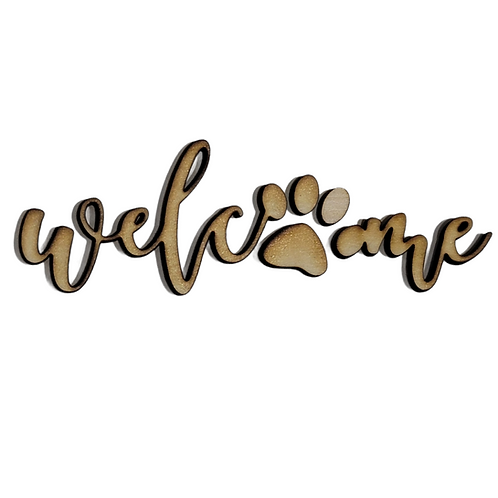 Welcome Paw Print Sign Unfinished MDF Laser Cutout