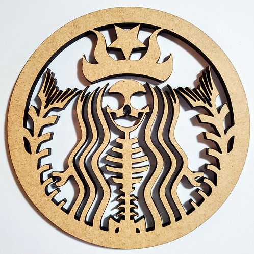 Unfinished Starbucks Skeleton Laser Cut Wall Hanging