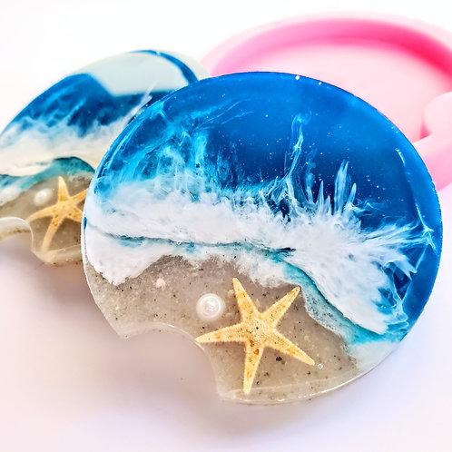 Starfish Ocean Wave Car Coasters Set of 2