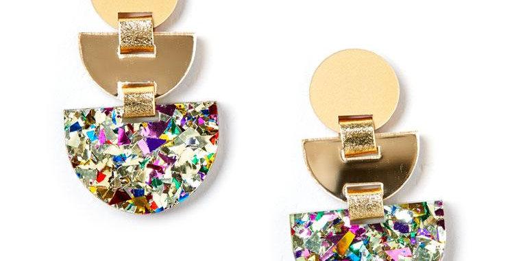 Boat Earrings - Gold / Confetti