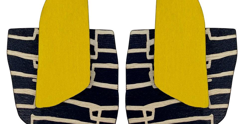 Yellow City pattern finger statement earrings