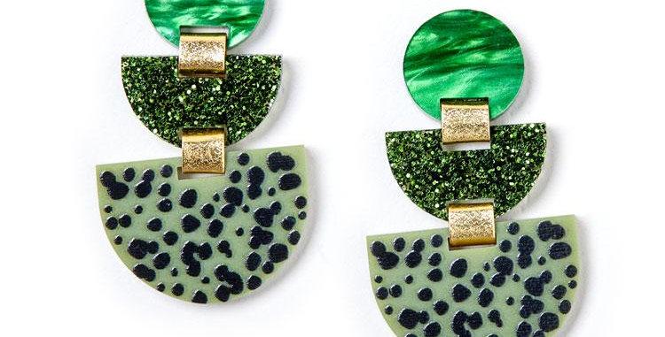 Boat Earrings - Glitter Olive