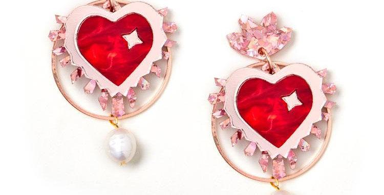 Sacred Heart Earrings - Rose