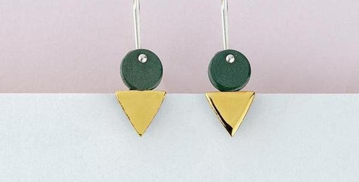 Tri-Stack Earrings / Green