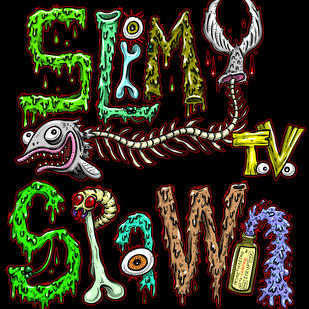 Slimy Spawn logo VERTICAL black RED outl
