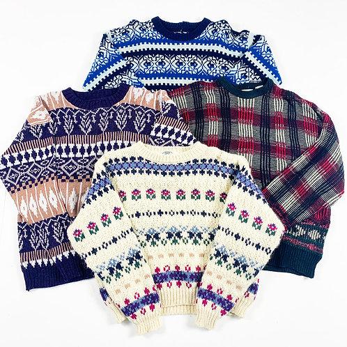 10 x Vintage Women's Patterned Knitwear Mix