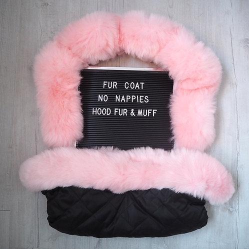 Extra Fluffy Pink Pram Hood Fur & Handmuff Set