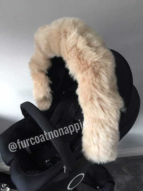 Soft Beige Extra Fluffy pram Hood Fur