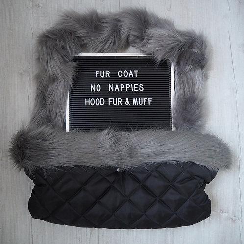 Luxury Grey on Black Pram Hood fur and Handmuff Set