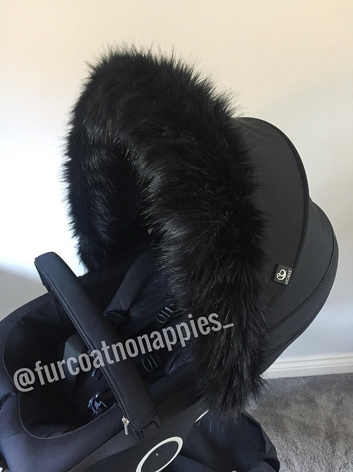 Black Fur Pram Hood Trim