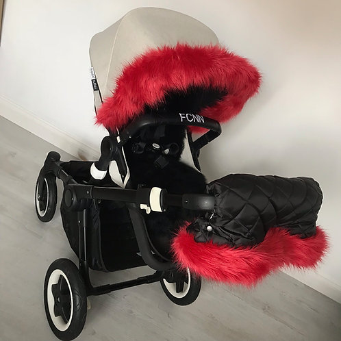 Cherry Red Universal Pram fur Handmuff