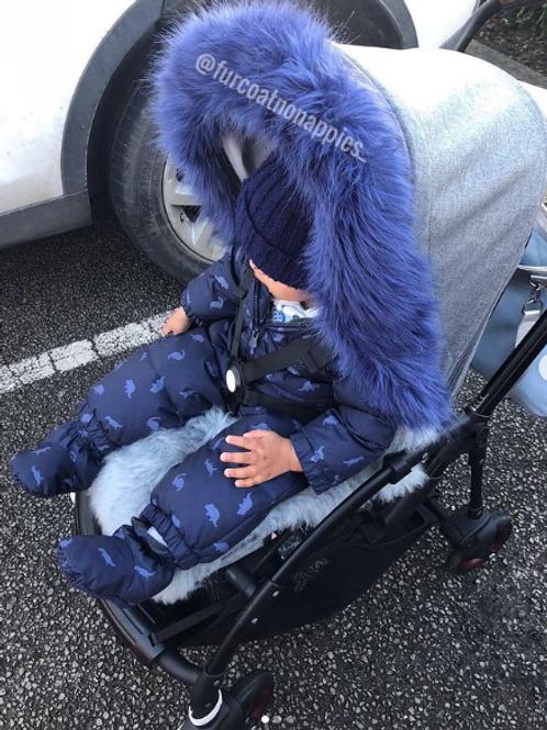 Blueberry Fur Pram Hood Trim