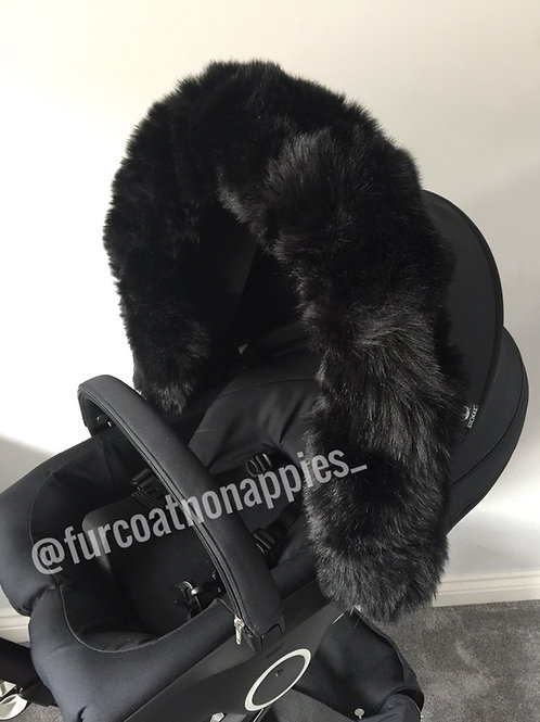 Luxury Black Extra Fluffy Pram Hood Fur