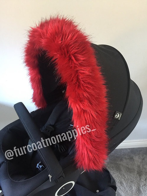 Red Hood Fur Pram Hood Trim