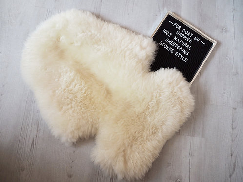 Marshmallow Stokke Sheepskin Pram Seat/ Carrycot Liner, Long