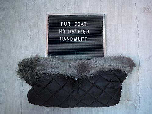 Luxury Grey Universal Pram Fur Handmuff
