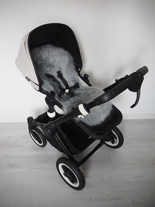 Silver Universal Sheepskin Pram Seat/ Carrycot, Long