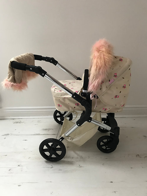 Unicorn on Beige Dolls Pram Accessory Hood Fur and Handmuff Set