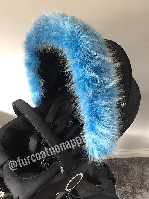 Ice Blue Fur Pram Hood Trim