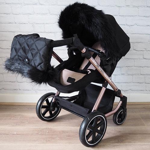 Luxury Black Dolls Pram Fur/ Handmuff