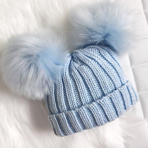 Baby Blue Knitted Pom Pom Hat