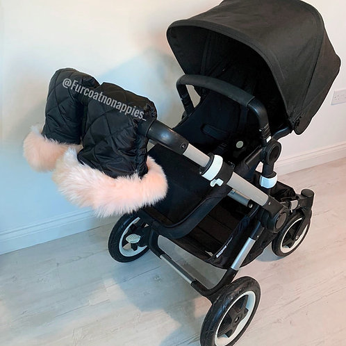 Extra Fluffy Blush Single Pram Handmuffs