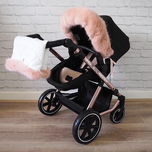 Rose Pink Dolls Pram Fur/ Handmuff