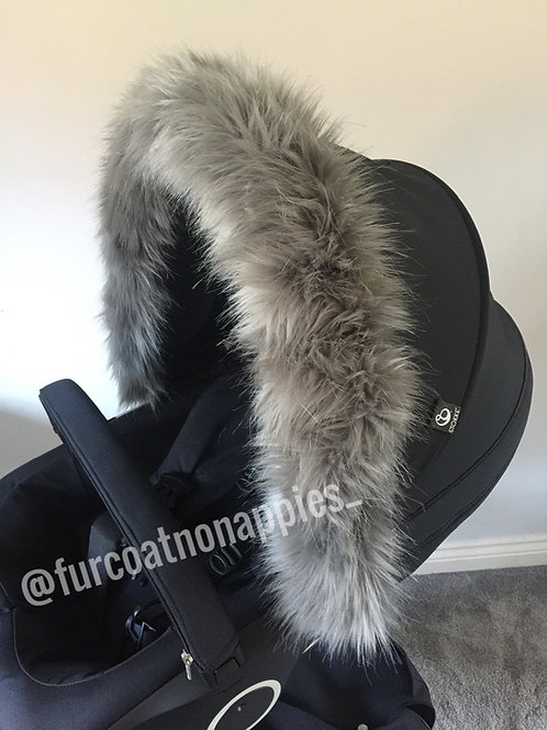 Luxury Grey Fur Pram Hood Trim