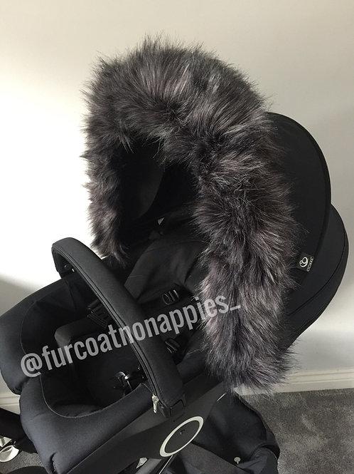Pewter Extra Fluffy Pram Hood Fur
