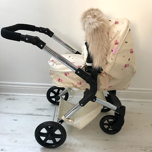 Soft Beige Dolls Pram Hood Fur Accessory
