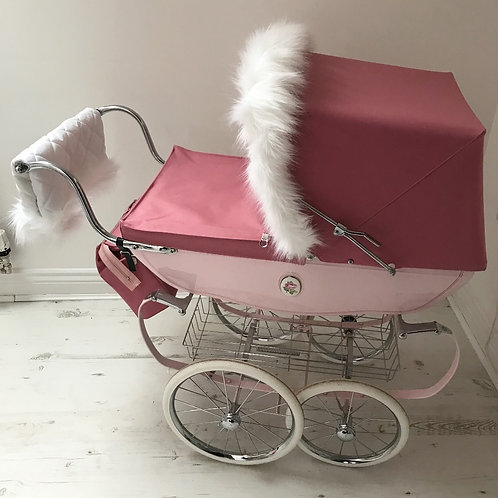 White Coach Built Dolls Pram faux fur hood & handmuff set