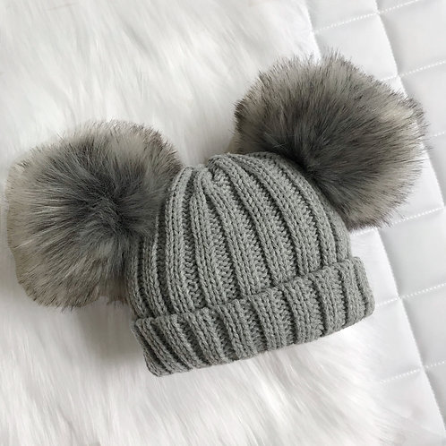 Grey Knitted Pom Pom Hat