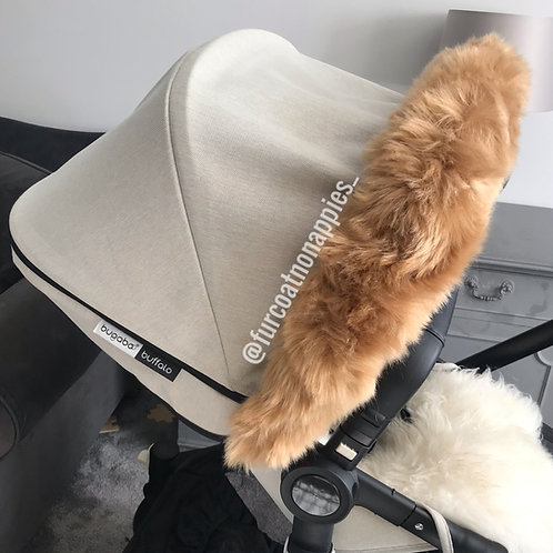 Tan Extra Fluffy Fur Pram Hood Trim