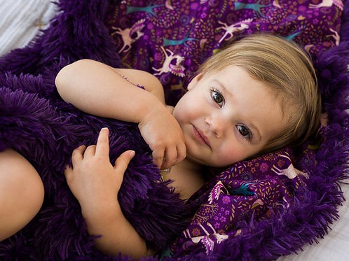 Fantasia Purple Fluffy Baby Pram Blanket