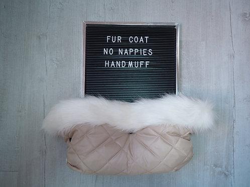 Cream Universal Pram Fur Handmuff