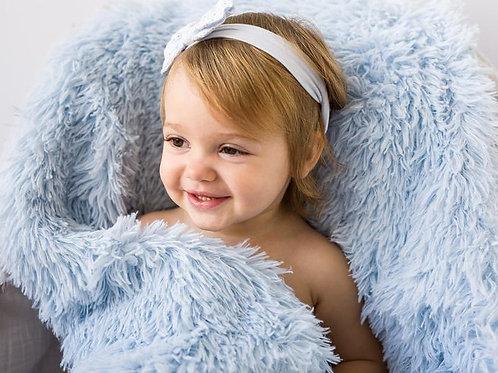 Powder Blue Fluffy Baby Pram Blanket
