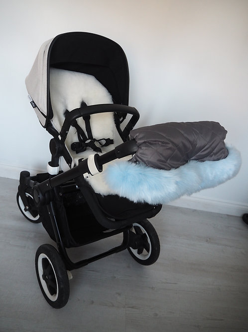 Extra Fluffy Blue on Grey Fur Pram Handmuff