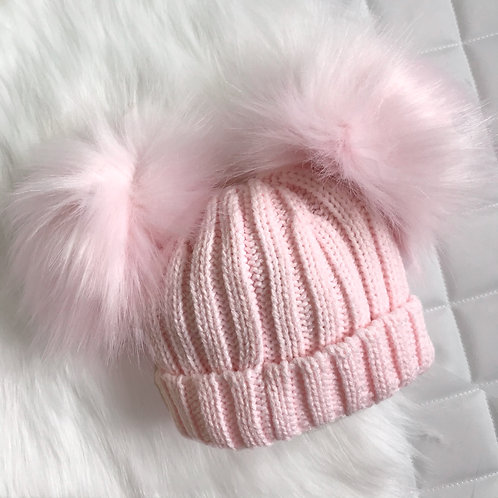 Baby Pink Knitted Pom Pom Hat