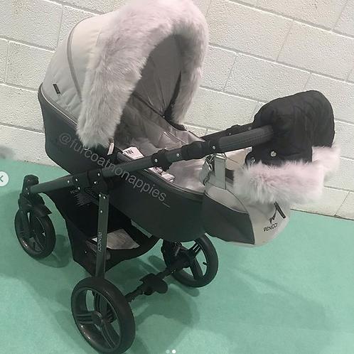 Extra Fluffy Silver Pram Fur Handmuff
