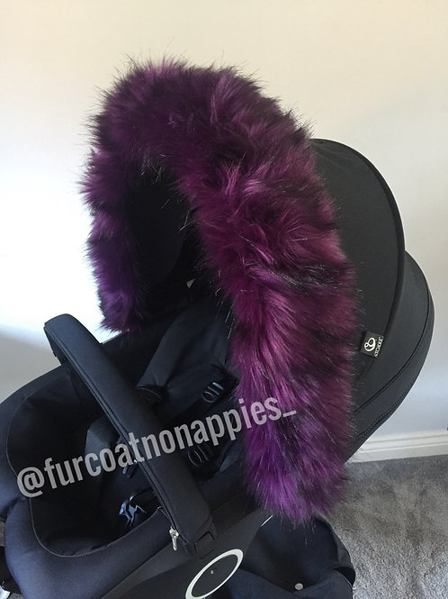 Luxury Purple Fur Pram Hood Trim