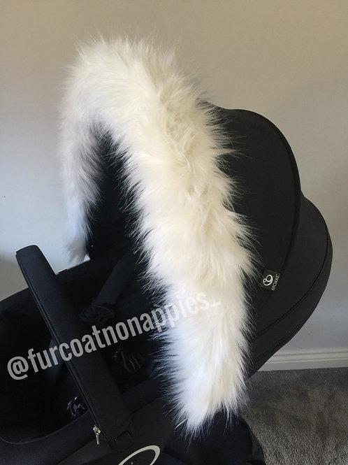 White Hood Pram Fur Hood Trim