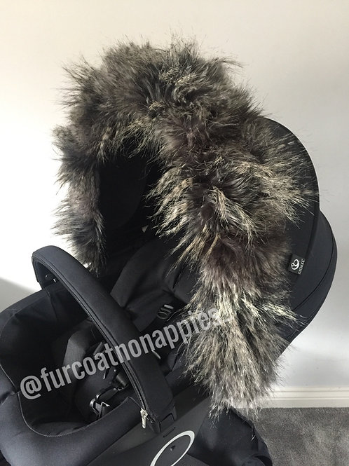 Bushy Racoon Fur Pram Hood Trim