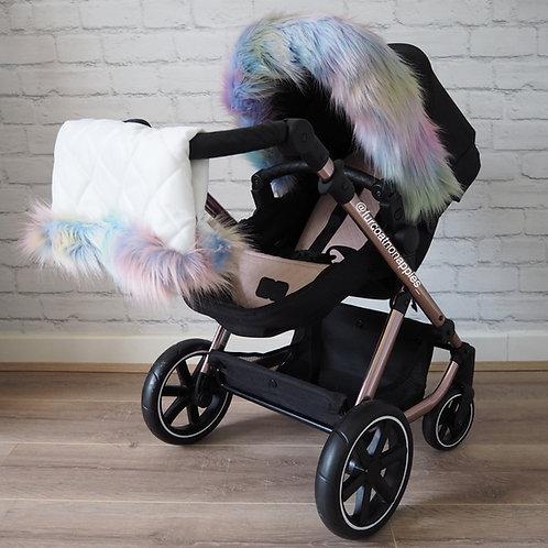 Sherbet Rainbow Dolls Pram Fur/ Handmuff