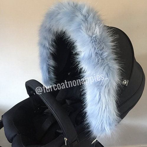 Baby Blue Fur Pram Hood Trim