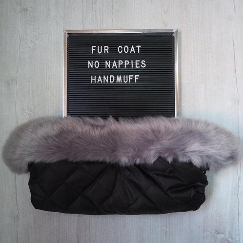 Extra Fluffy Soft Grey Pram Fur Handmuff
