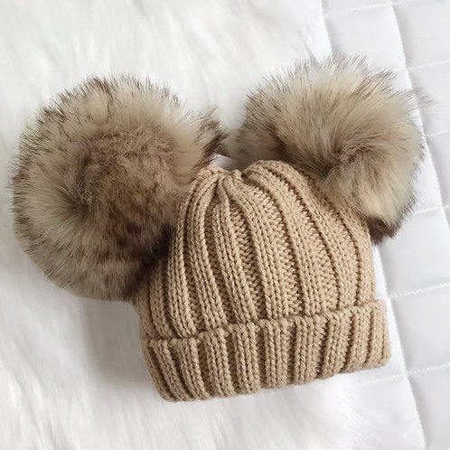 Brown Bear Knitted Pom Pom Hat
