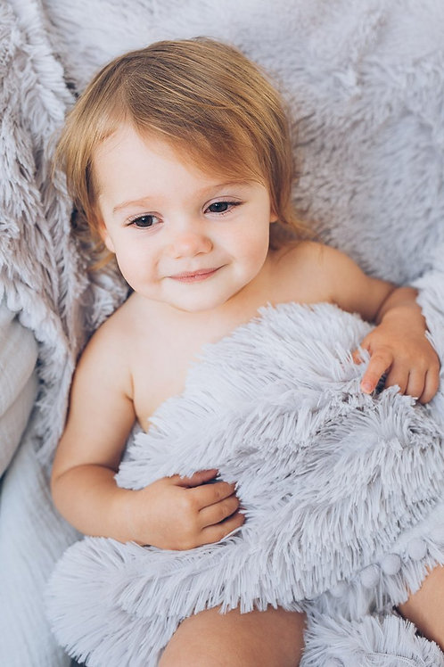 Whisper Grey Fluffy Baby Pram Blanket